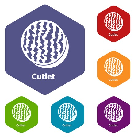 Cutlets icons vector colorful hexahedron set collection isolated on white 向量圖像