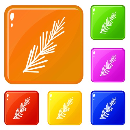 Rosemary spice icons set collection vector 6 color isolated on white background Ilustração