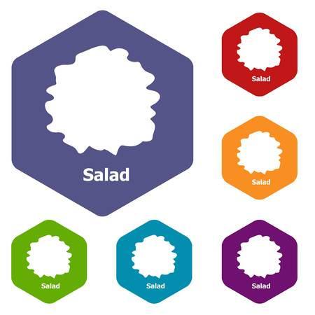 Salad icons vector colorful hexahedron set collection isolated on white