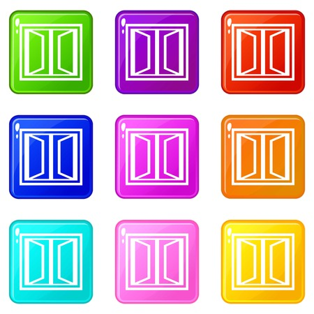 Plastic window frame icons set 9 color collection