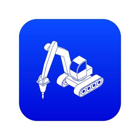 Drill tractor icon blue vector