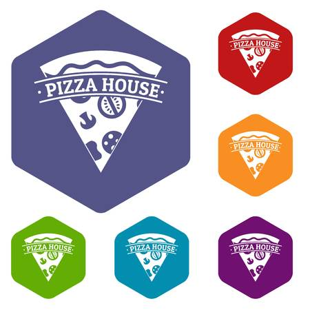 Pizza icons vector hexahedron 矢量图像