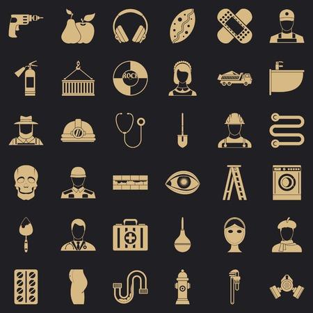Good job icons set, simple style