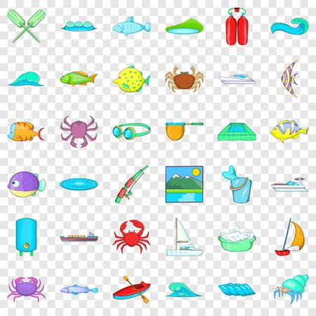 Water fish icons set, cartoon style Illustration
