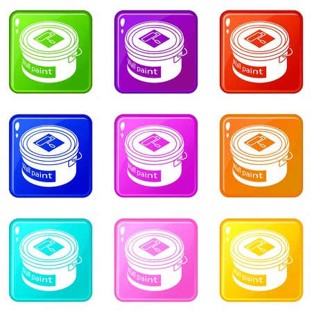 Wall paint bucket icons set 9 color collection