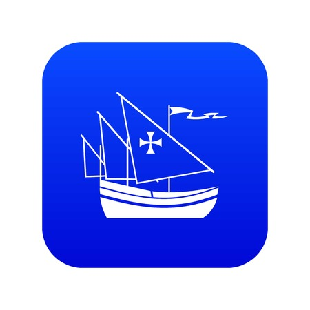 Ship of Columbus icon digital blue for any design isolated on white vector illustration