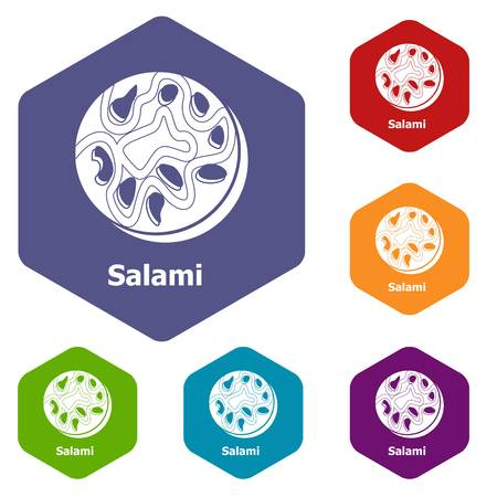 Salami icons vector colorful hexahedron set collection isolated on white Vectores