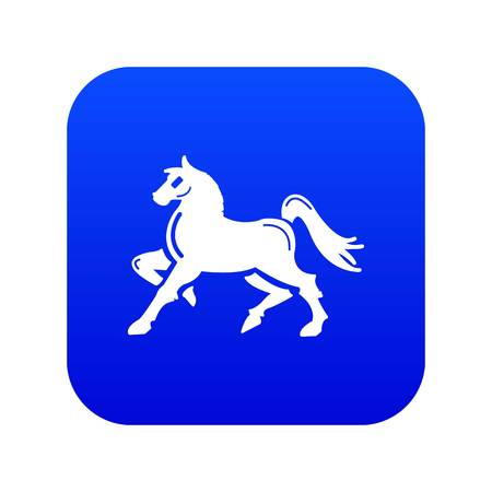 Knight horse mascot icon blue vector isolated on white background