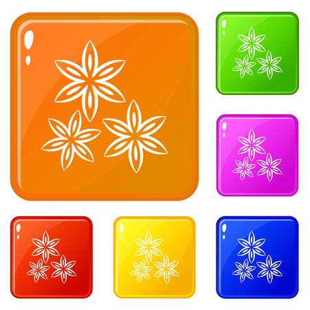 Star anise icons set collection vector 6 color isolated on white background