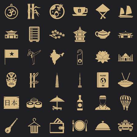 Food in dish icons set, simple style Illustration