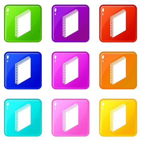 Sandwich panel icons set 9 color collection