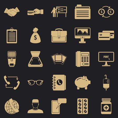 Division icons set, simple style
