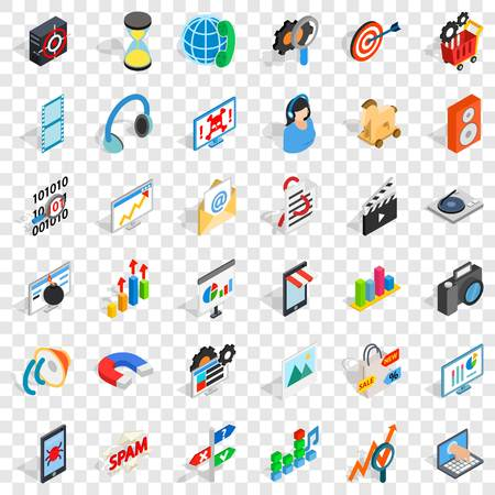 Web extension icons set, isometric style
