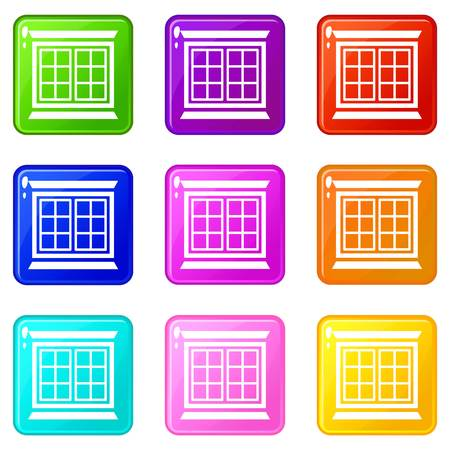 Modern window frame icons set 9 color collection