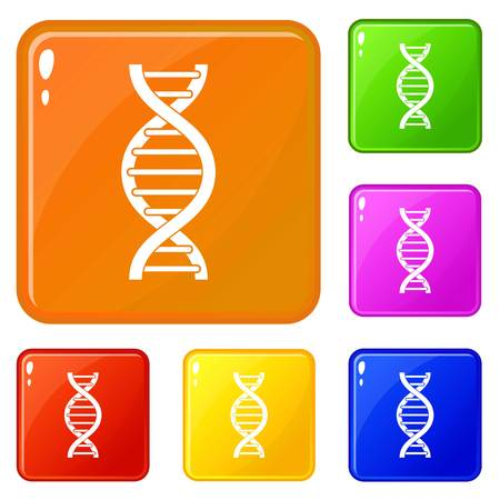 DNA spiral icons set collection vector 6 color isolated on white background