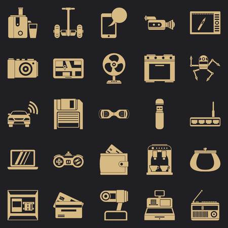 Camcorder buying icons set, simple style