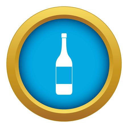 Wine bottle icon blue vector isolated