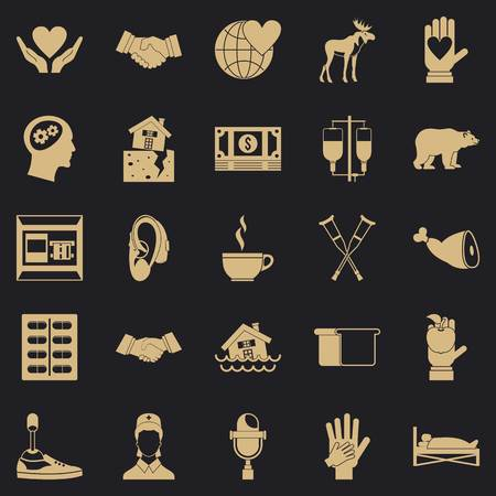 Endowment icons set. Simple set of 25 endowment vector icons for web for any design