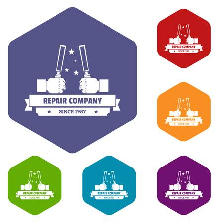 Repair company icons vector hexahedron