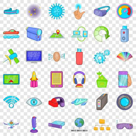 Broadcasting technology icons set, cartoon style