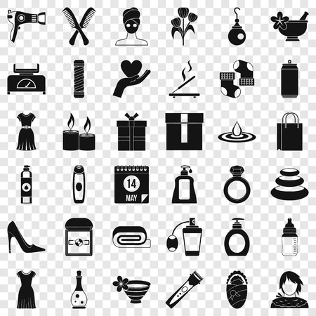 Woman perfume icons set, simple style