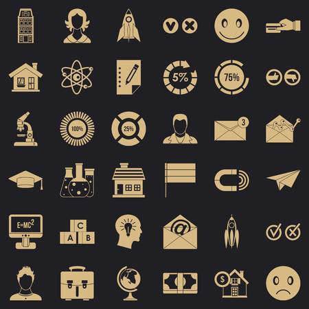 Internet learning icons set, simple style