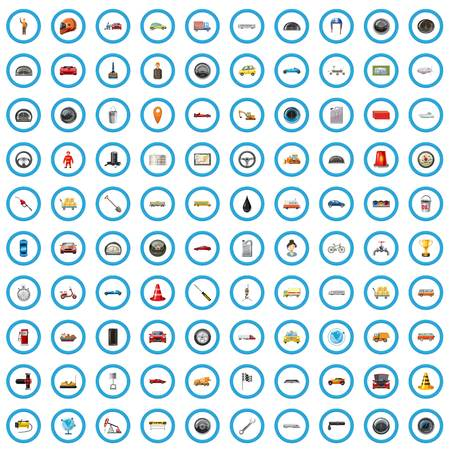 100 icone stradali impostate in stile cartone animato per qualsiasi illustrazione vettoriale di design
