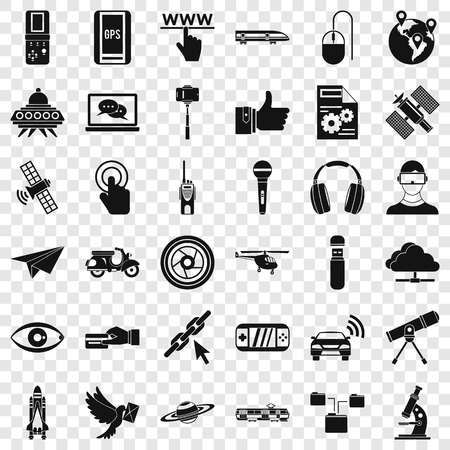 Broadcasting technology icons set, simple style