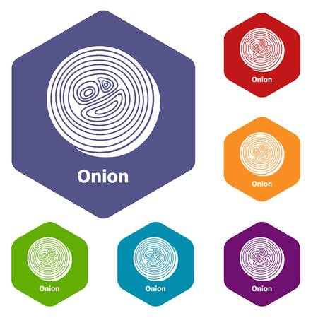 Onion icons vector hexahedron