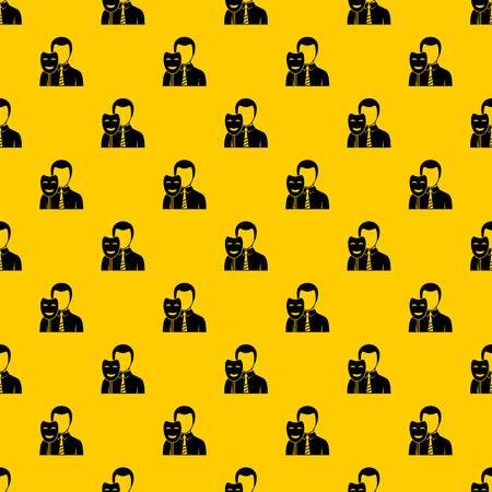 Businessman holding smile mask pattern seamless vector repeat geometric yellow for any design Illustration