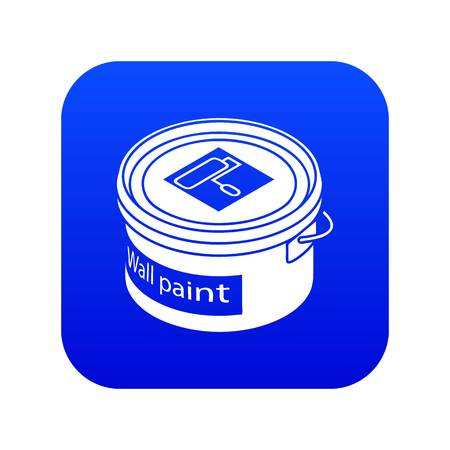 Wall paint bucket icon blue vector isolated on white background Illustration