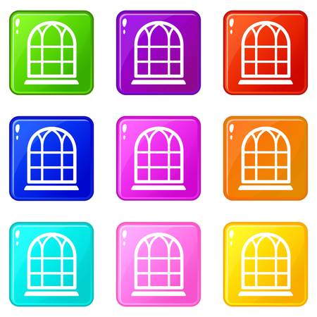 Big window frame icons set 9 color collection