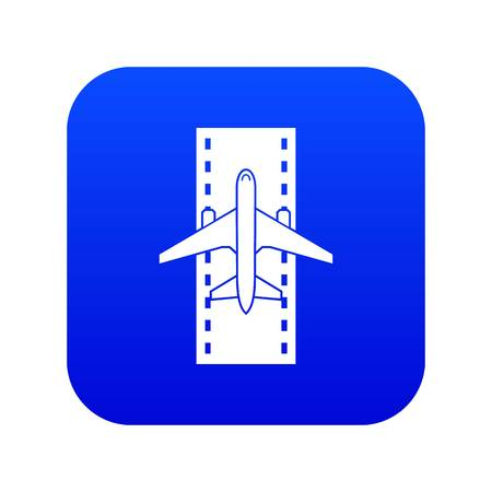 Airplane on the runway icon digital blue for any design isolated on white vector illustration Illustration