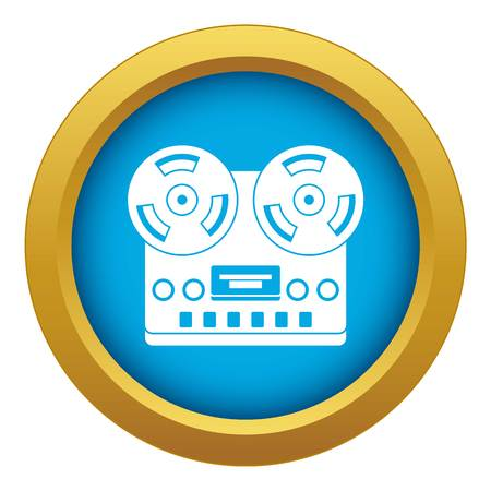 Retro tape recorder icon blue vector isolated on white background for any design