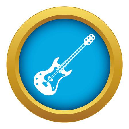 Classical electric guitar icon blue vector isolated on white background for any design