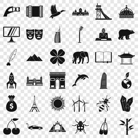 Big world icons set, simple style