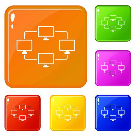 Computer transmission information icons set collection vector 6 color isolated on white background