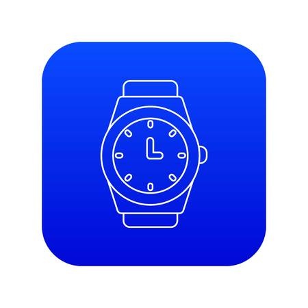 Wristwatch icon blue vector