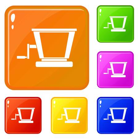 Old grape juicer icons set vector color