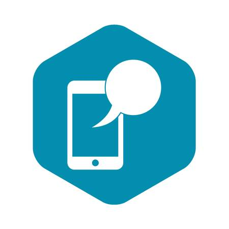 Speech bubble on phone icon in simple style isolated on white background. Gadget symbol Illustration