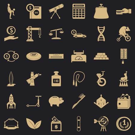 Money balance icons set, simple style