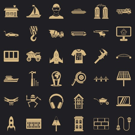 Engineering equipment icons set, simple style