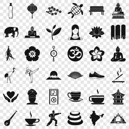 Yoga amulet icons set, simple style Ilustración de vector