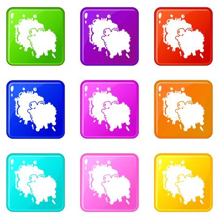 Paintball splash blob icons set 9 color collection