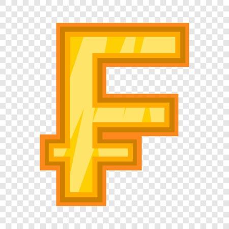 Swiss frank icon, cartoon style  イラスト・ベクター素材