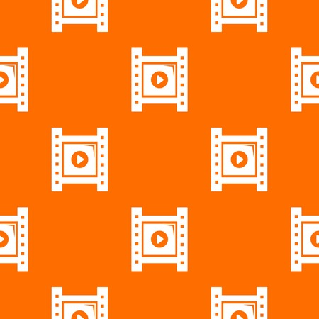 Play film strip pattern vector orange