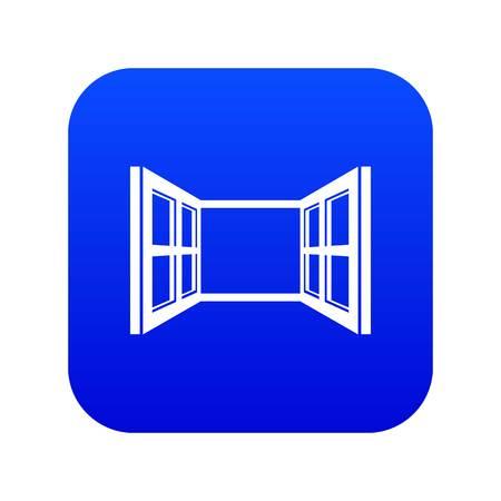 Open window frame icon blue vector Illustration