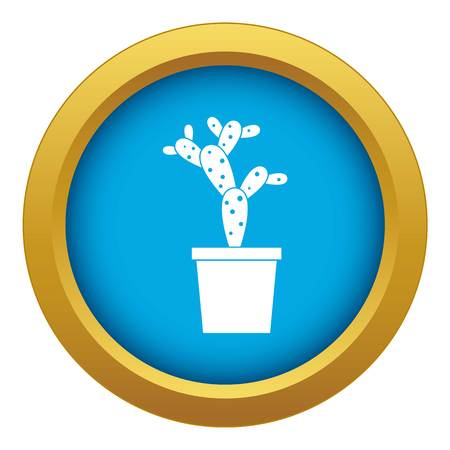 Opuntia icon blue vector isolated on white background for any design
