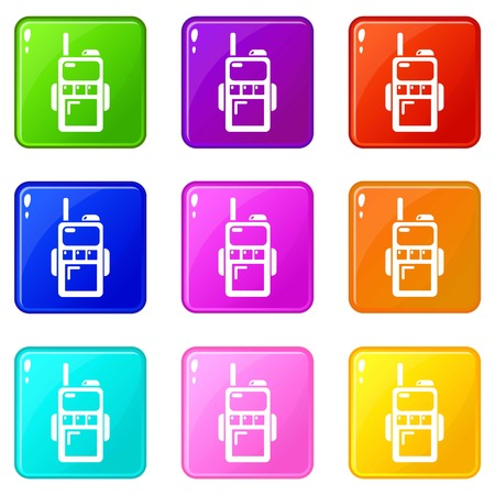 Paintball walkie talkie icons set 9 color collection Illustration
