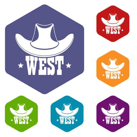 West icons vector hexahedron Stock Vector - 120387964
